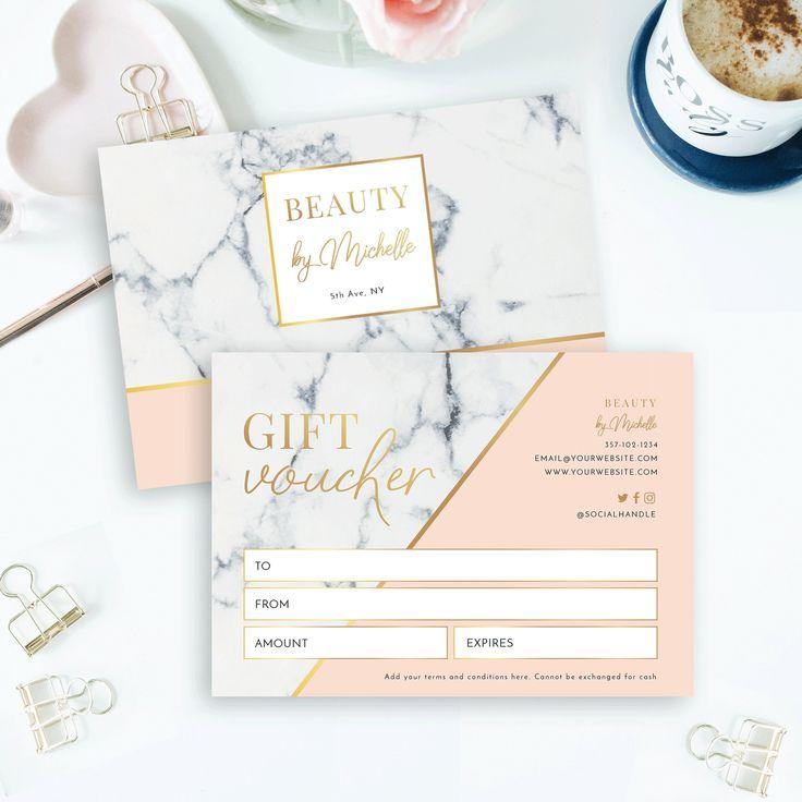 Marble gold gift voucher template editable salon gift