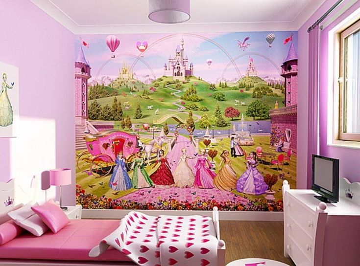 Lively Kids Bedroom Wallpaper Theme: Girls Bedroom Decoration Ideas With  Disney Wallpaper ~ Homedesignlovers. Part 59