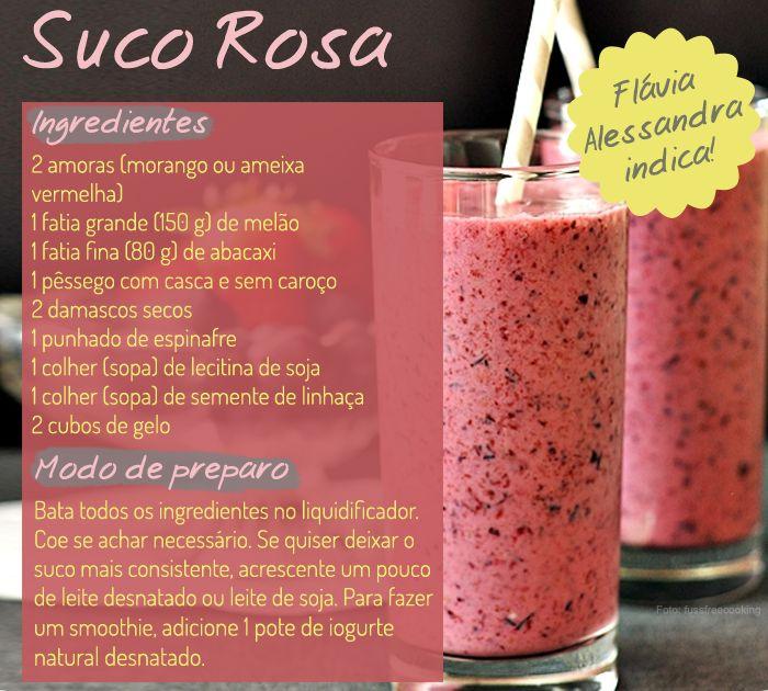 Suco rosa da Flávia Alessandra! Clique na imagem e veja outros sucos das famosas! #carnaval #detox