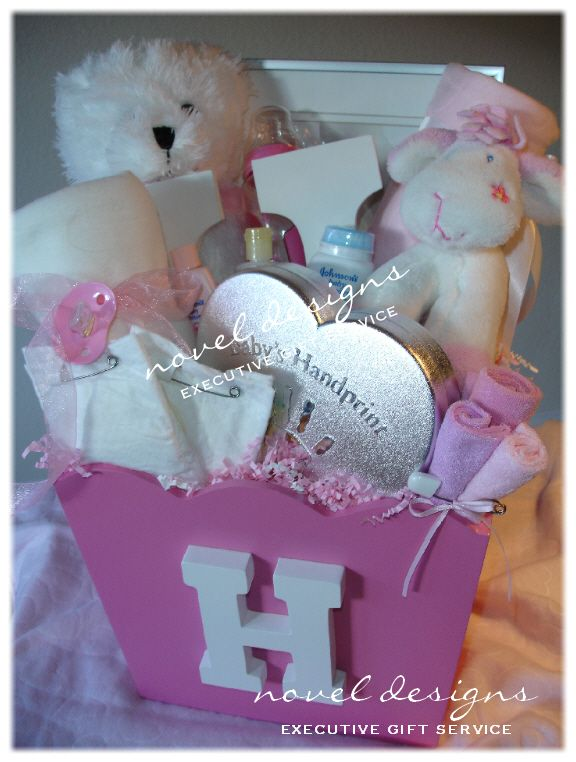 Las Vegas' premier gift basket source offering the best selection of unique, custom designed Baby gift baskets for everyday occasions & corporate events.  Sweet Baby Girl Gift Basket Personalized w/Initial.  Follow us on facebook & pinterest or visit our website for more baby gift basket ideas!  Available for local Las Vegas delivery.
