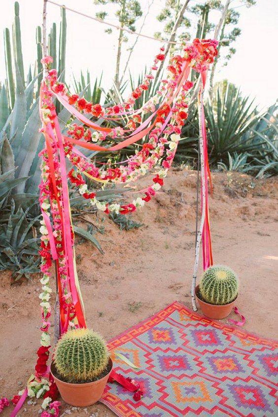mexican cactus wedding arch ideas / http://www.deerpearlflowers.com/cactus-wedding-ideas/
