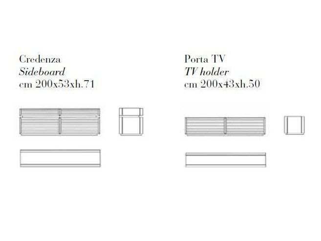 Low wooden TV cabinet memos Absolute Collection by Ulivi Salotti
