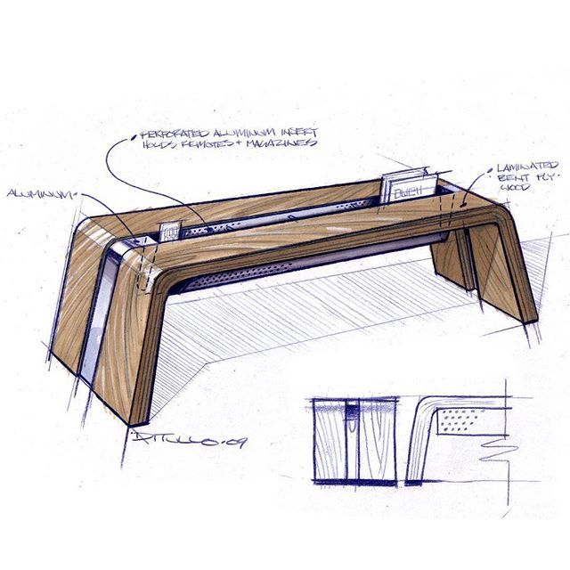 A Sketch From Back In 2009 Of Bent Wood And Aluminum Coffee Table The