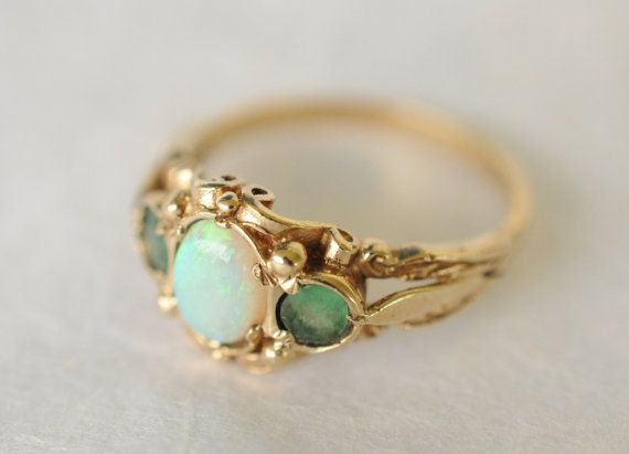 1980s vintage / 9k gold / emerald and opal ring by ErinAntiques, $420.00