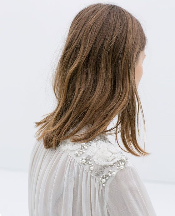 Image 7 of EMBROIDERED BLOUSE WITH PEARLS from Zara