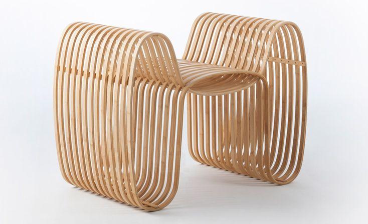 gridesign studio creates heat-bent bamboo bow tie chair