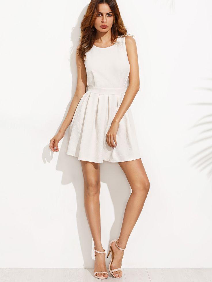 Vestido festoneado corte línea A - blanco-Spanish SheIn(Sheinside)
