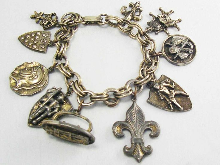 COOL! Vintage C.1950's bracelet 10 Charms Crests Roman Coin KNIGHT Crown Shield