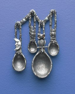 The Night Kitchen: GaelSong Exclusive! Whip up a magical midnight snack under the moonlight, assisted by friendly owls. Pewter measuring spoons add fun to your cooking, or displayed on the wall with their tree-branch hanging rack. Food-safe pewter; handcrafted in USA.