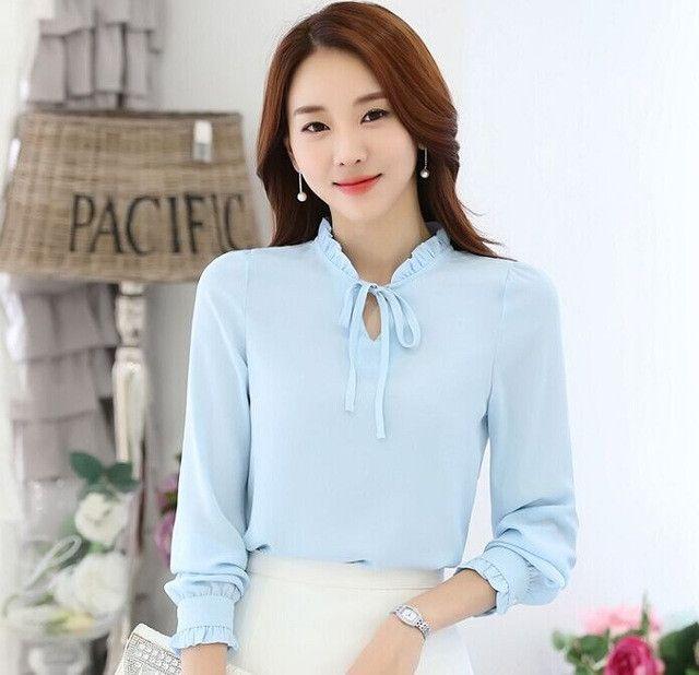Plus size clothing Elegant Women's Bow tie shirt Fashion Ruffles Chiffon blouse female long-sleeved Solid color Women Tops