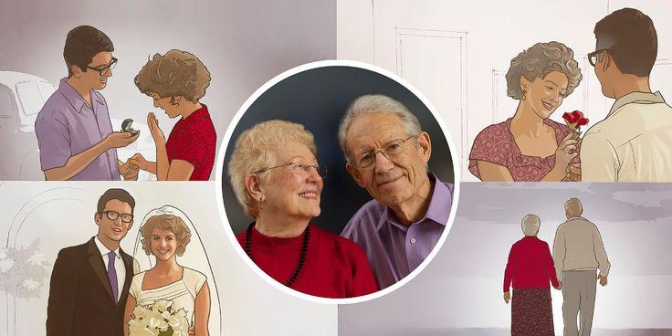 1. Una feliz pareja de edad avanzada; 2. Lamisma pareja el día que se…