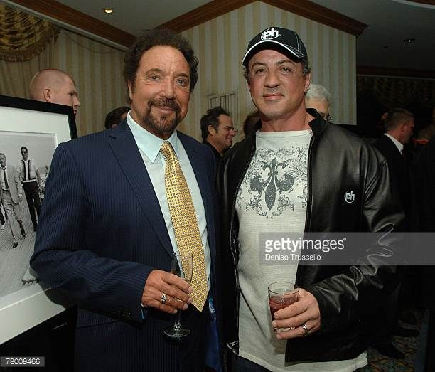 Singer Tom Jones and actor Sylvester Stallone at the Grand Opening of Planet Hollywood Resort Casino Weekend on November 17 2007 in Las Vegas Nevada