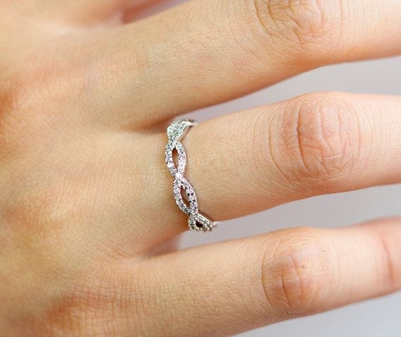 Pure White infinity Ring/ Cubic Zirconia/ Wedding/ by SweetrainArt, $21.00 in rose gold pls!