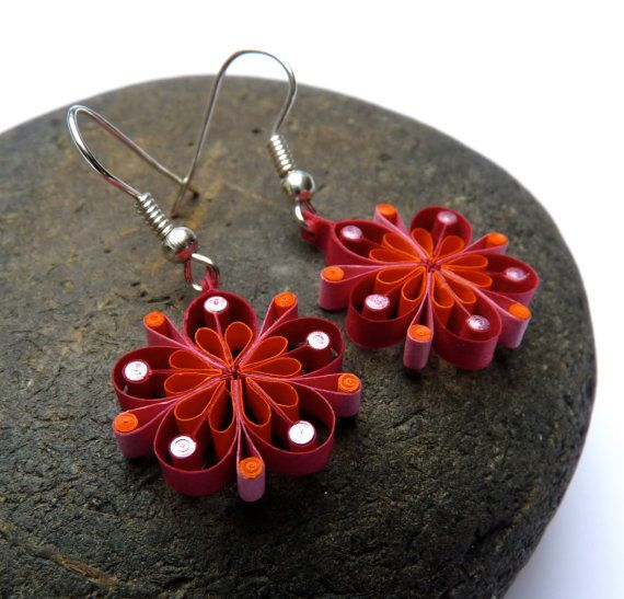 Earrings - Eco-friendly, quilled paper, flowers, quilling