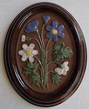 Vintage GABRIEL Sweden A202 Swedish Wall Plaque Ceramic FLOWERS