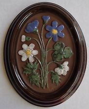 Vintage GABRIEL Sweden A202 Swedish Wall Plaque Ceramic FLOWERS