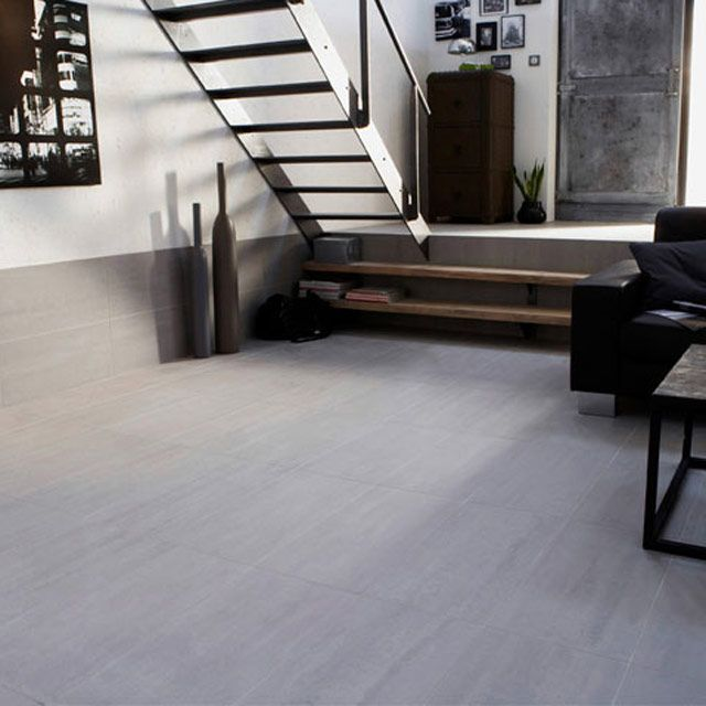 Carrelage sol et mur gris 30 x 60 cm slim lounge for Carrelage castorama