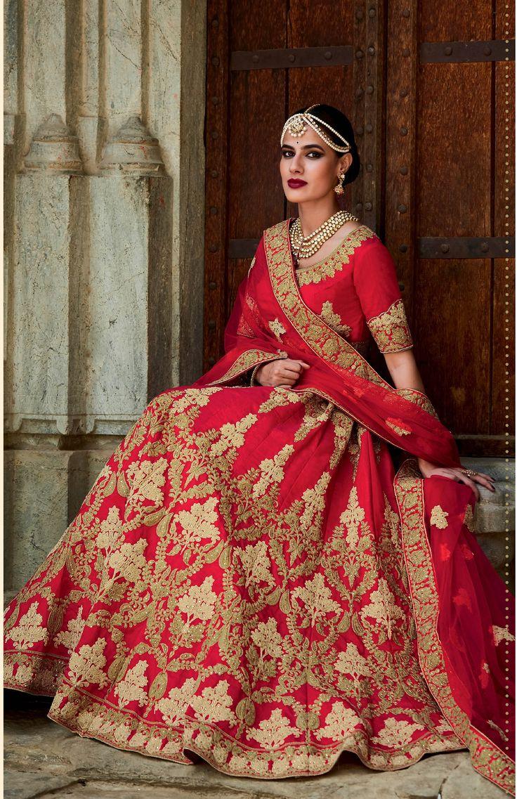 Trending Buy Red color silk bridal lehenga choli in UK USA and Canada