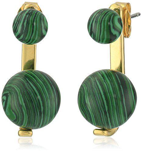 nOir Jewelry Sphere Semi Precious Malachite Earrings Jackets