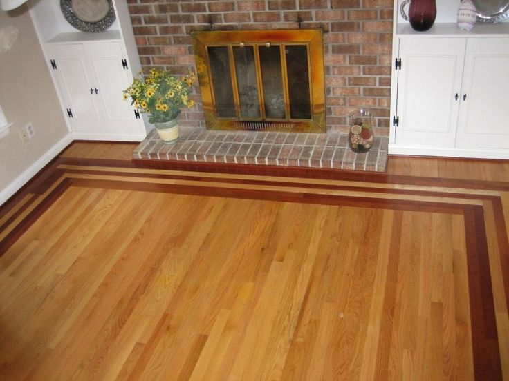 Wood Flooring With Inlay | Select Red Oak Flooring With Brazillian Cherry  Border