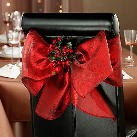 Bloomsberry Set of 2 Floral Chair Bow Clips - If you love chair bows, you're bound to love our Chair Bow Clips with foliage and berries! They promise to add an extra touch of glamour to your dining room. Please note: Chair bows sold seperately. #Kitchen #Dining #Christmas #Home #Kaleidoscope