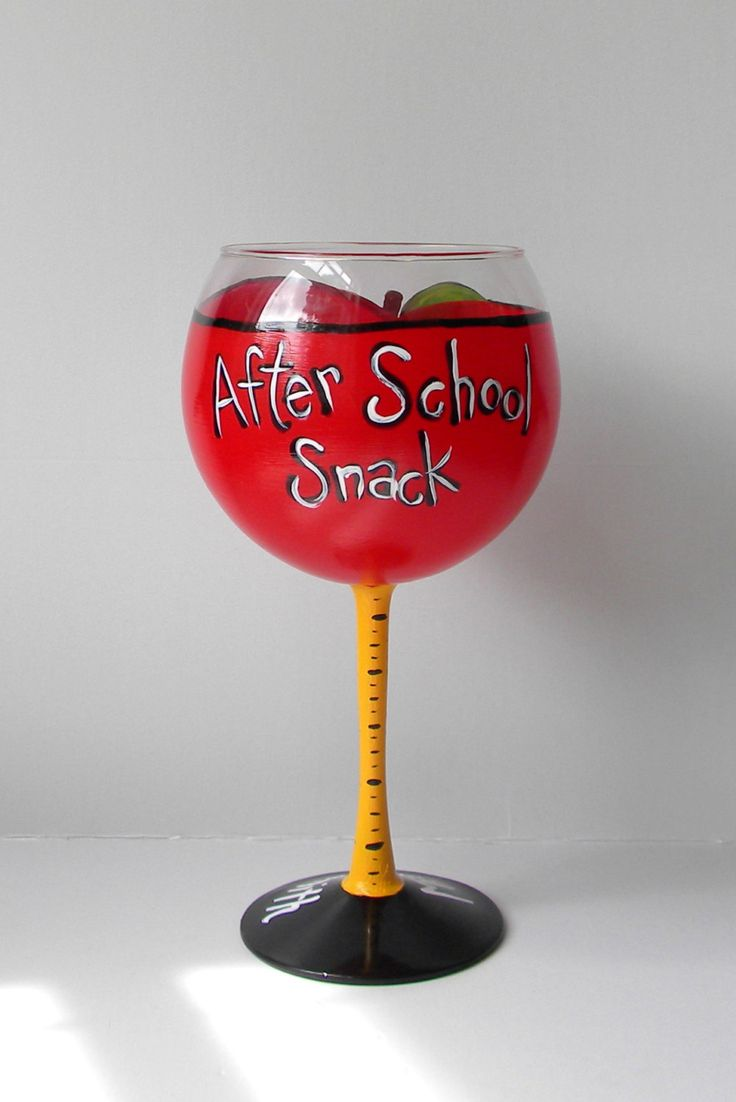 Hand Painted Wine Glass Apple Wine Glass Teacher by EmbellishCraft