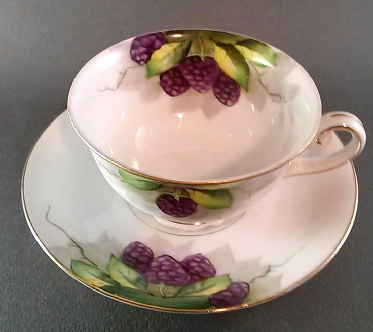 Vintage Cup and Saucer Occupied Japan Ohata China Blackberries 1940s #OhataChina