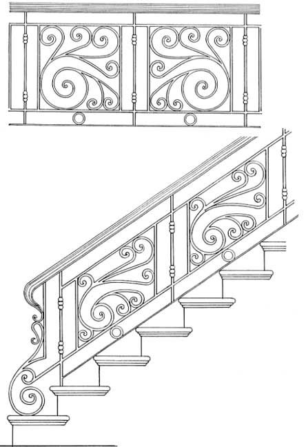 stair rail design | ... › Stair Rail Design Drawings › Stair Railing Designs ISR204