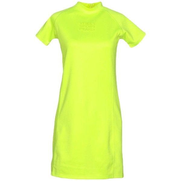 Vfiles Sport Plus Short Dress (130 AUD) ❤ liked on Polyvore featuring dresses, acid green, tube dress, green tube dress, green mini dress, neon green dress and green jersey dress