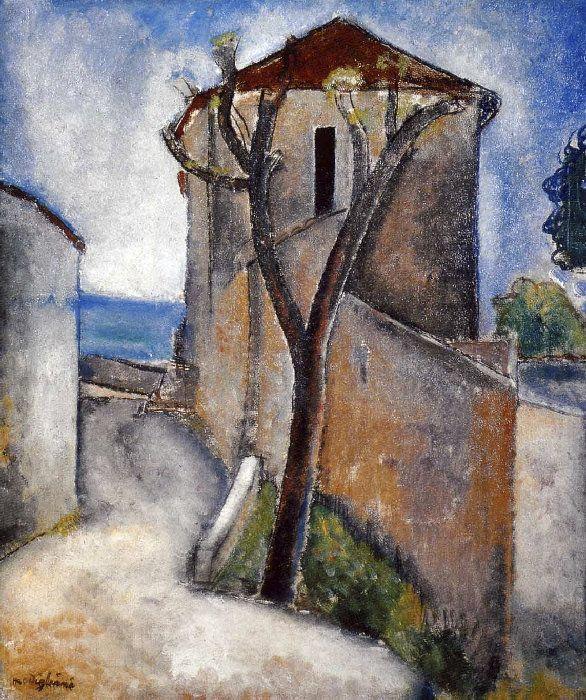 Arbres et maisons, Modigliani, 1918