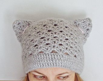 PDF PATTERN step-by-step TUTORIAL Crochet hat with cat ears/ lace beanie/ smart casual hat/ spring autumn hat /mother's day gift present