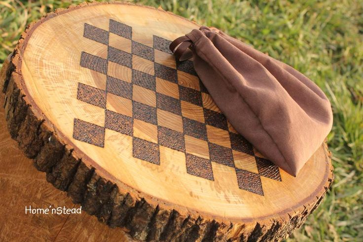 Rustic Log Checker Game Set 26 rustic checker pieces Natural Waldorf Classic Family Board Game. FunnyFarmToyBarn via Etsy.