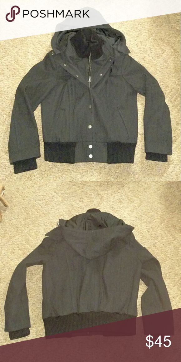 New York Company Wool Bomber Jacket Hood Like new wool bomber jacket from New York company. Size 10. Dark gray with black trim. Zipper & buttons, removable hood and  clips to tighten. Very warm! New York & Company Jackets & Coats Utility Jackets