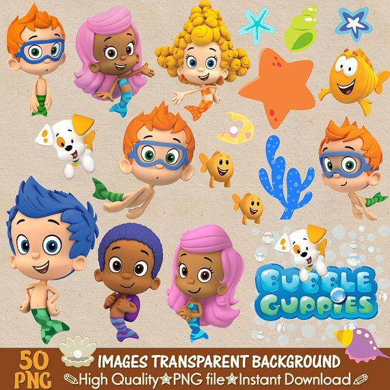 Bubble Guppies Clipart Png Digital Clipart Stickers Digital Etsy In 2021 Bubble Guppies Birthday Bubble Guppies Party Bubble Birthday