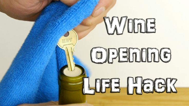 How to remove the cork from a wine bottle using a house key. Fun life hack if you haven't got a cork screw, or use it as a party trick. Works with synthetic ...