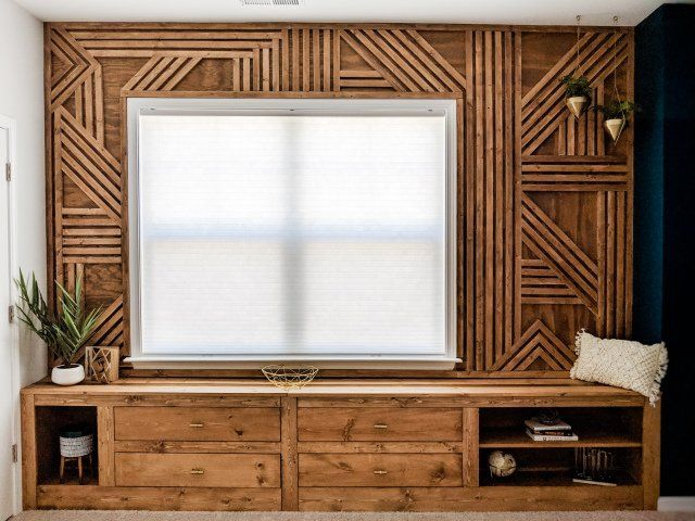 How To Make A Feature Wall Diy Geometric Wood Accent Wall In 2020 Wood Accent Wall Accent Wall Bedroom Feature Wall