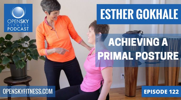 http://openskyfitness.com/esther-gokhale-achieving-primal-posture/  This week, the Posture Guru of Silicone Valley aka Esther Gokhale of the Gokhale Method, joined myself to talk about the importance of good posture.  Have you ever wondered how you can improve your back's posture at your desk or whether a standing desk would be better for you? Esther answered a ton of our questions and gave us some good, basic stretches to begin our way to healthier and stronger bodies.