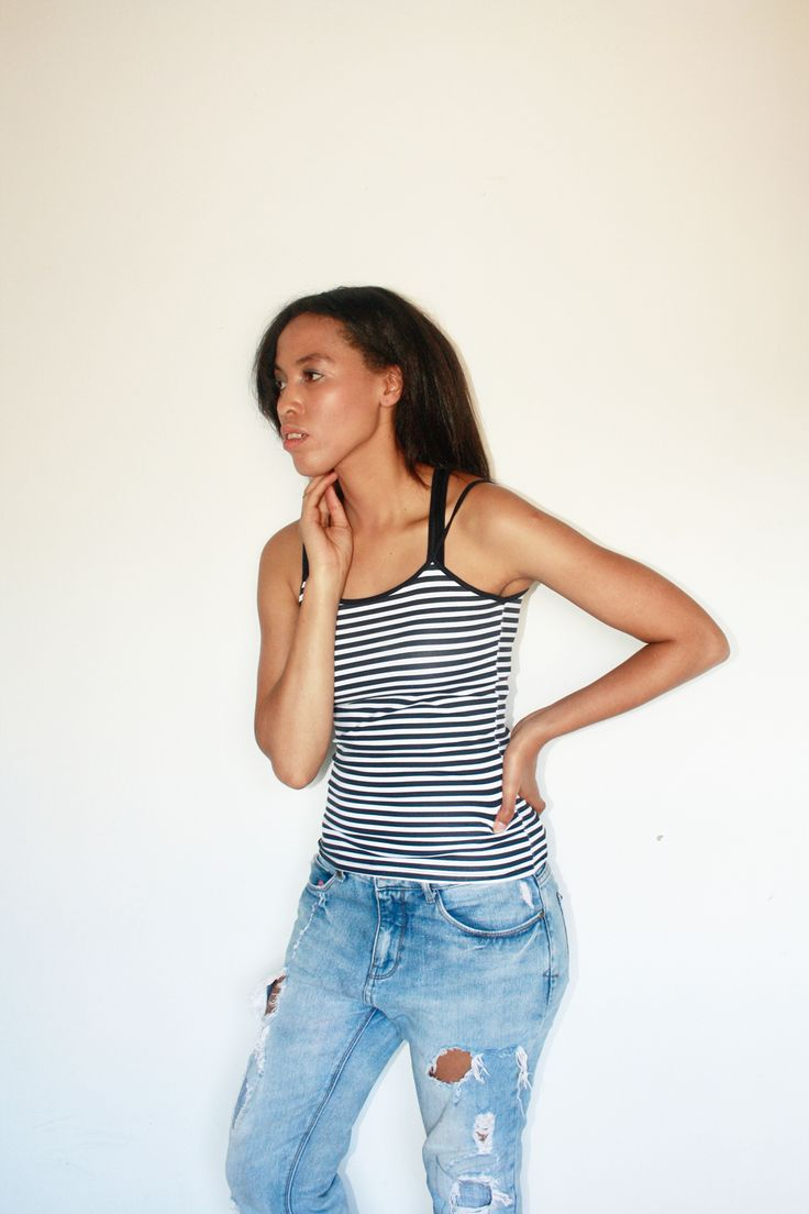 striped tank top + ripped boyfriend jeans