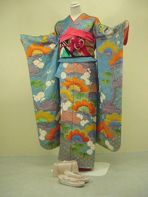 Vintage 1970's Furisode Kimono - Silk, 8pcs Set - Features pine, bamboo, plum blossom, & flying crane motifs