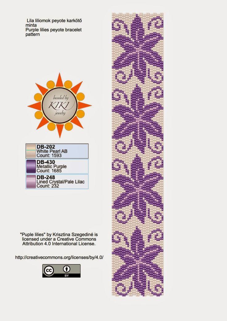 KIKI GYÖNGYEI: Tavaszra lila liliomok peyote karkötő minta - pattern