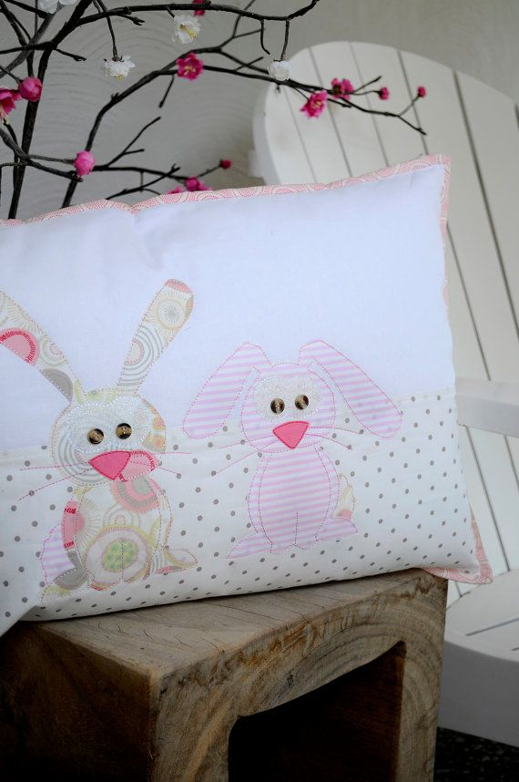 Happy+Little+Rabbits+Applique+Cushion+PDF+by+claireturpindesign,+$8.00