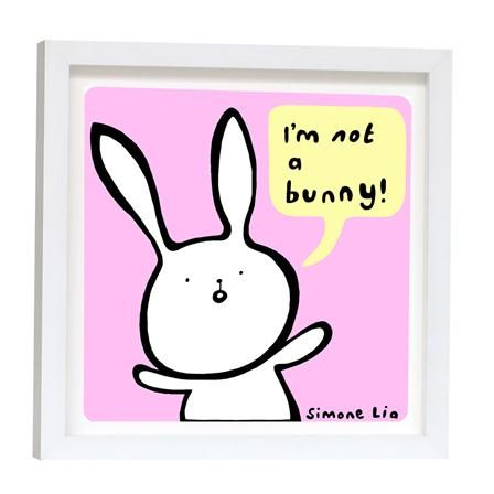 Simone Lia - I'm Not A Bunny Pink, Framed Art Print, 23x23cm, at Artslice, $32 !!