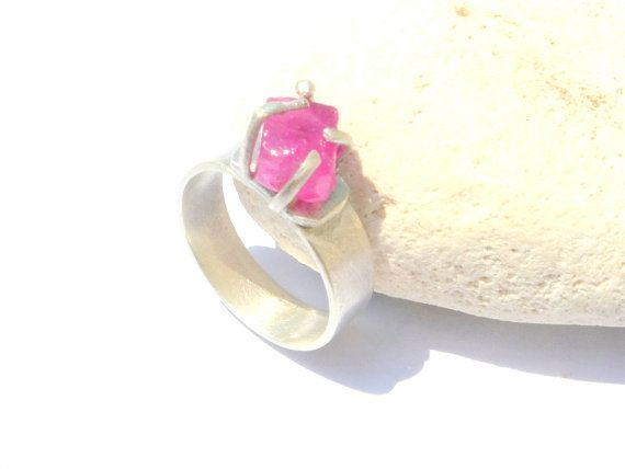 Natural Rough Red Ruby ,Gemstone Candy ,Sterling Silver Ring.Ruby Ring. Rough Gemstone Ring.
