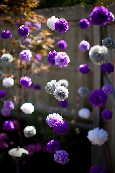 Purple and White flower balls