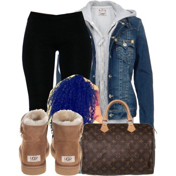 A fashion look from October 2014 featuring True Religion, UGG Australia ankle booties and Louis Vuitton tote bags. Browse and shop related looks.