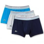 Lacoste Cotton Stretch 3 Pack Boxer Trunk, Navy/Grey/Blue