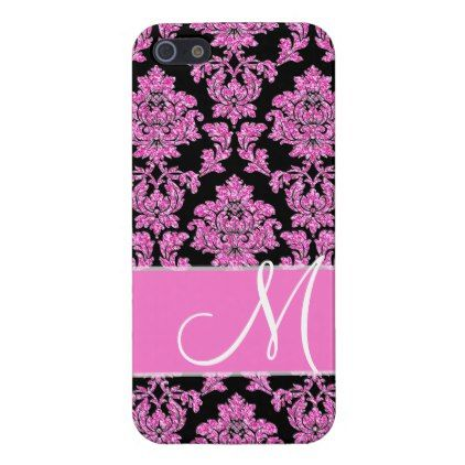 Hot pink glitter damask pattern on black Monogram iPhone SE/5/5s Cover - hot damask gifts custom personalize
