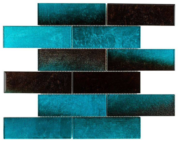 Glass Subway Tile Sparkling Turquoise 2x6