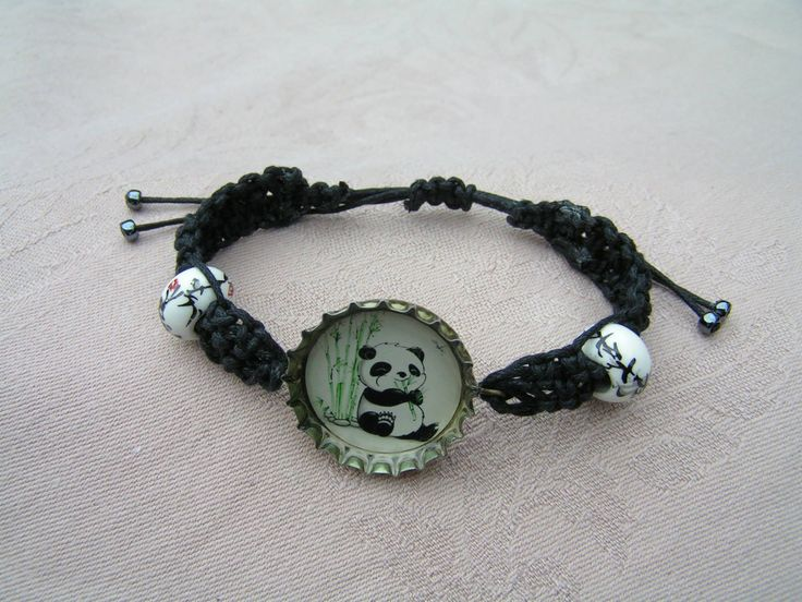 Panda  --    Free size macrame bracelet with hand painted porcelain beads and cure panda motif in the bottle cap.   For those who love the pandas and even for those who don't :)