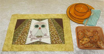 Owl Place Mat Done in just 1 hooping
